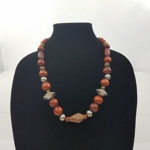 Wood Tribal Necklace Beaded Brown Silver Tone Chun